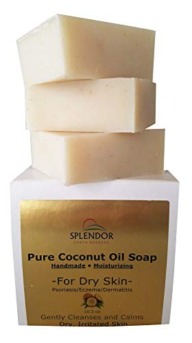 - Moisturizing Coconut Oil Soap for Dry, Irritated, Itchy or Sensitive Skin - Organic Ingredients For Psoriasis, Eczema and Dermatitis. Handmade, Vegan,100% Natural and Fragrance-Free
