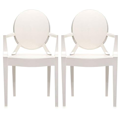 2xhome - Set of Two (2) White - Louis Style Ghost Armchair Dining Room Chair - Lounge Arm Arms Armed Chairs Armchairs Accent Seat Higher Fine Modern