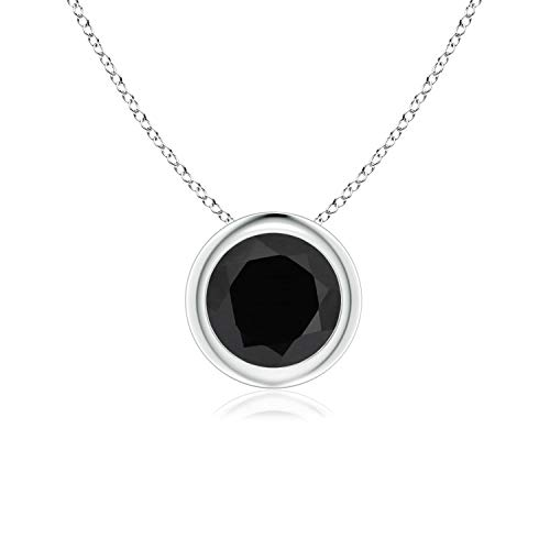 Bezel-Set Round Black Onyx Solitaire Pendant in Platinum (6mm Black - Onyx Necklace Platinum Black