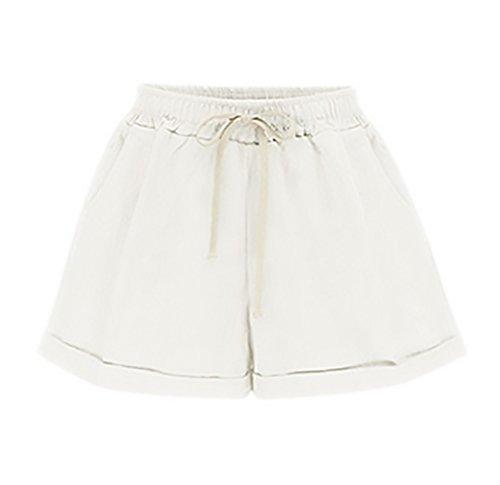 Moda Pantaloncini Solido Elegante Corta Woman Forti Sciolto Fashionable Shorts Casuali Ragazza Donna Pantaloni Taglie Estivi Coulisse Abbigliamento Bianca nUrfn
