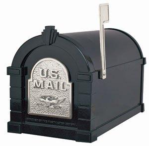 Gaines Deluxe Post - Keystone Deluxe Mailbox, Black w/Satin Nickel