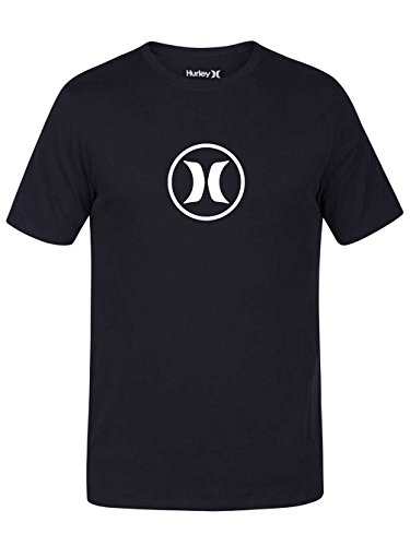 (Hurley 892142 Men's T-Shirt Circle Icon Dri-Fit, Black/(Pure Platinum) -)