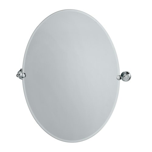 Gatco 4329LG Tiara Large Oval Wall Mirror, Chrome