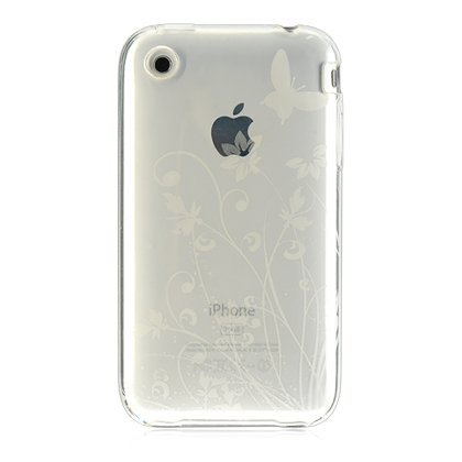 Clear Butterfly Flower Garden Crystal Candy TPU Silicone Skin for Apple Iphone 3g 3gs
