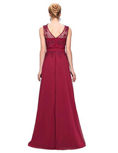 Grace Karin Women V-Back Beads Long Gown Evening Prom Dress,Dark Red,18 Plus