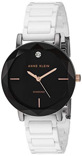 (Anne Klein Women's AK/3365GYWT Diamond-Accented White Ceramic Bracelet)