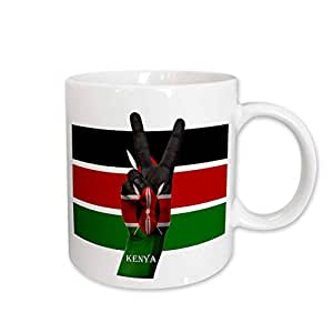 Sandy Mertens Flags of the World - Flag of Kenya Peace Sign Pride - 15oz Mug (mug_210480_2)
