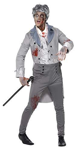 Smiffys Men's Zombie Gent Costume, pants, Jacket, Mock Top and Cravat, Zombie Alley, Halloween, Size L, 44357 ()