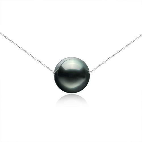 14K Gold 8-9mm Tahitian South Sea Cultured Floating Pearl Tin Cup Chain Necklace Jewelry for Women 17