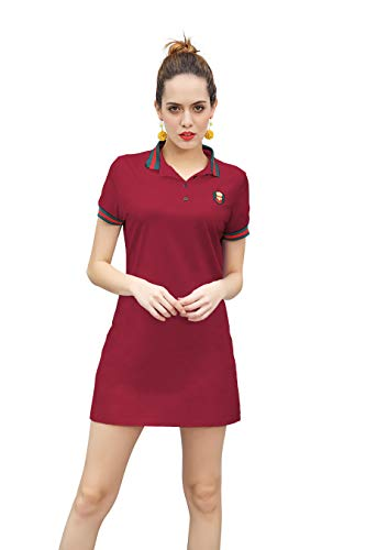 ZHIJINGBIANWEI Women's Casual Polo Dress Embroidered Badge Stretch Cotton Mini Short Sleeve Polo Shirt Golf Shirt (XX-Large, Wine Red)