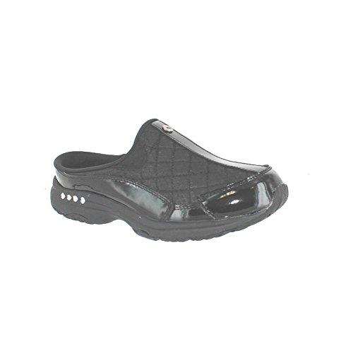 Leather Clogs Mules - Easy Spirit Women's Traveltime Mule, Black/Silver Patent, 8 M US