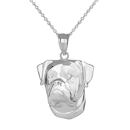 925 Sterling Silver English Bulldog Head Pendant Necklace -
