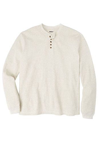 Price comparison product image Kingsize Men's Big & Tall Waffle Knit Thermal Henley Tee, Heather Oatmeal