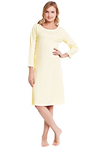 Alexander Del Rossa Womens Cotton Knit Nightgown, 3/4 Length Sleep Dress, Medium Yellow (Pure Cotton Pastel)