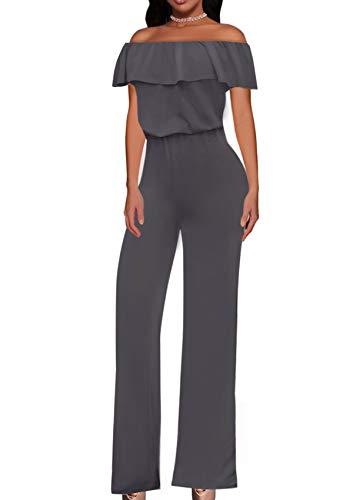 HyBrid & Company Women High Waist Wide Leg Pants Jumpsuit Romper KPVJ47696 Charcoal M
