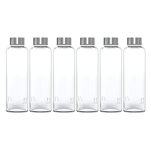 Boroux Basics Reusable Glass Water Bottles BPA/BPS Chemical Free, Premium Soda Lime Glass 18 oz, 6 Pack of Reusable Drinking Bottles, Leak Proof Stainless Steel Cap. Great for Water, Juice, Kombucha ()