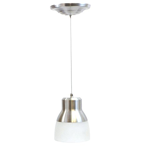 It's Exciting Lighting IEL-5778 Glass Pendant Nickel IR LED Light With Brushed Nickel And Frosted Glass Shade, Battery Operated With 24 Included LEDs