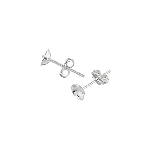 5mm Sterling Silver Ear Stud Cups & Scroll Backs - PK2 Beads Jar