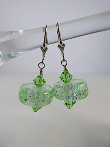 Lime Green Dichroic Lampwork Bead Earrings with Swarovski Crystal Accents and Sterling Silver Findings and Leverback Ear (Lampwork Crystal Sterling Earrings)