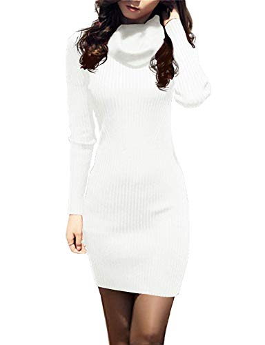 v28 Women Cowl Neck Knit Stretchable Elasticity Long Sleeve Slim Fit Sweater Dress (2-8,Cream White)