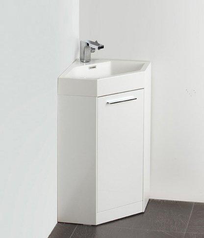 """Fresca FVN5084WH Lucido Coda 18"""" White Modern Corner Vanity"""