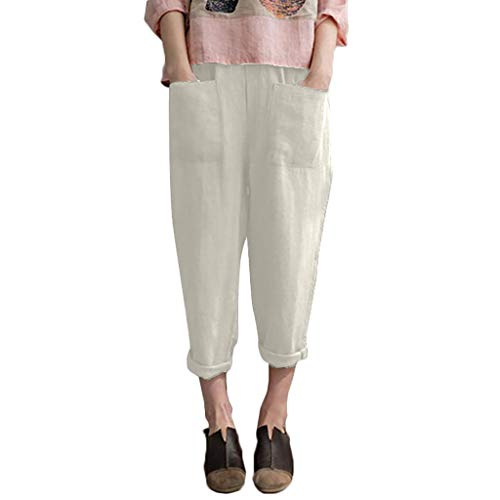 [해외]Oielmal 성인 캐주얼 세련 된 크롭 드 팬츠 마 바지 무지 체형 커버 미각 효과 여성용 롱 길이 체형 커버 봄 여름 원 피 평상시 사용 통 학 통근 와이드 팬츠 편안한 체형 커버 / oielmal Adult Casual Fashionable Cropped Pants Hemp Pants Plain ...