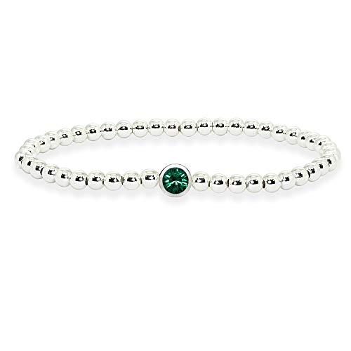 (Sterling Silver Polished Beads Stretch Bracelet Made with Green Swarovski)