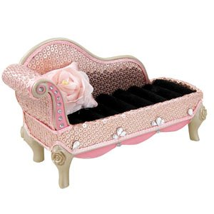Sequined rose chaise lounge ring holder pink furniture for Chaise jewelry box