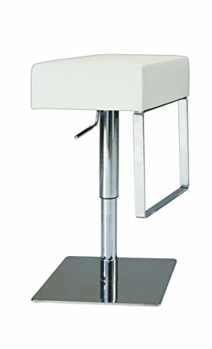 Milan Sadie Pneumatic Gas Lift Adjustable Height Swivel Stool, White