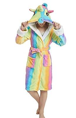 AooToo Girls Unicorn Robes Flannel Hooded Cute Cartoon Animal Nightgowns Soft Cozy Nightwear