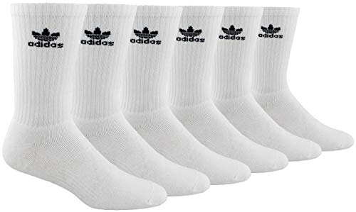 adidas Men's Athletic Cushioned Crew Socks (6-Pair), White/Black, Large, (Shoe Size 6-12) (Watch Adidas Men)