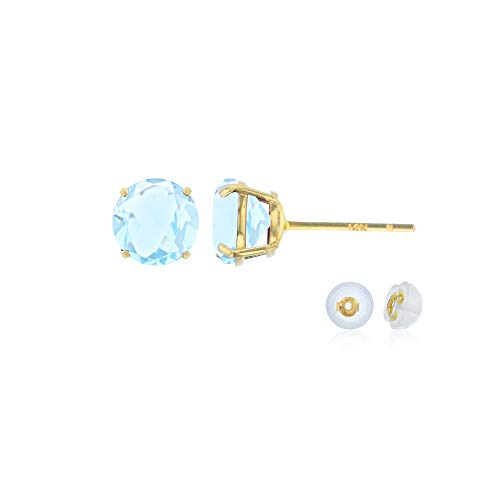 (Genuine 14K Solid Yellow Gold 4mm Round Natural Aquamarine March Birthstone Stud)