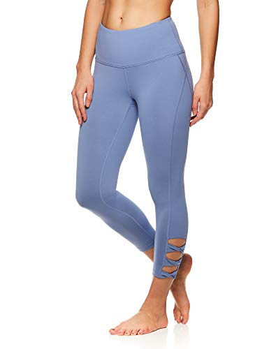 Gaiam Women's High Rise Waist Yoga Pants - Performance Spandex Compression Leggings w/Ankle Cutouts - Stonewash, X-Small