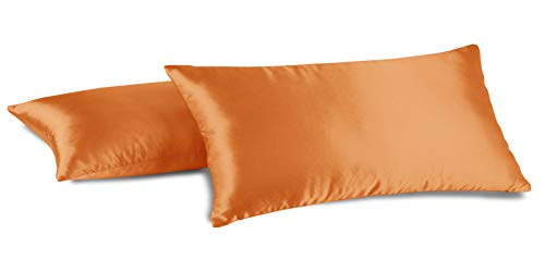 Aiking Home 100% Polyester Bridal Satin Luxury Pillowcases - Set of 2 Invisible Zipper Pillowcases - Machine Washable - (Standard 20x26 inch, Orange)