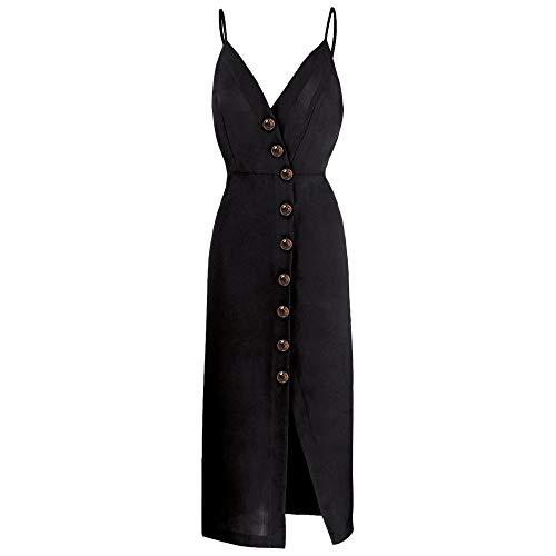TOP-MAX Women's Dresses-Summer Spaghetti Strap Sleeveless Split Cocktail Party Casual Button Down Midi Dress Black