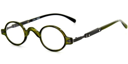 Stratford Fashion Readers with Round, Retro Design and Optical Frames - 37mm x 24mm x 140mm (Green - Frame For Specs Round Face
