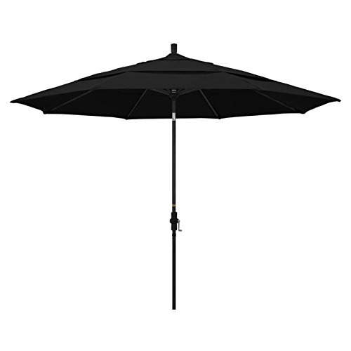 California Umbrella 11′ Round Aluminum Market Umbrella, Crank Lift, Collar Tilt, Black Pole, Pacifica Black