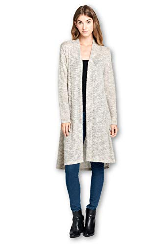 ReneeC. Women's Lightweight Open Front Classic Long Office Cardigan - Made in USA (Medium, Taupe 4)