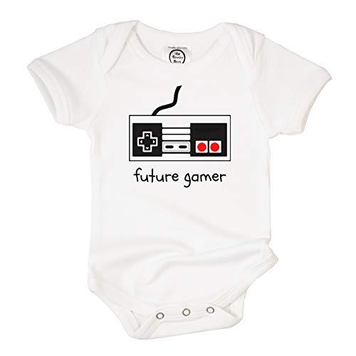 The Spunky Stork Future Gamer Organic Cotton Baby Bodysuit (3-6 mo) White, Red, Black