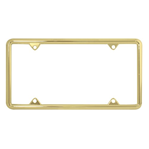 Grand General 60062 Brass Plated Zinc Plain License Plate Frame with 4 - Plate Gold Frame License