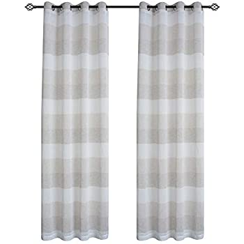 Amazon Com Dezene Striped Sheer Curtains For Living Room