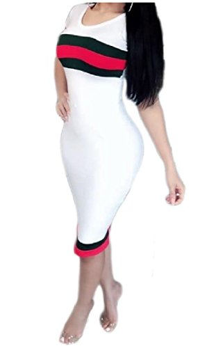 Round Coolred Sexy Women Mid Ribbon Dress Short Silm Sleeve Collar White Fit Stretchy qqBFT4tw