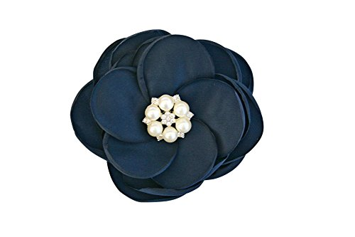 MIA White Satin Flower Rhinestone Pearl Hair Clip Wedding Hair Clip Bridal Hair Clip Bridesmaid Hair Clip First Communion Hairpiece Girls Hair Clip (Navy Blue)