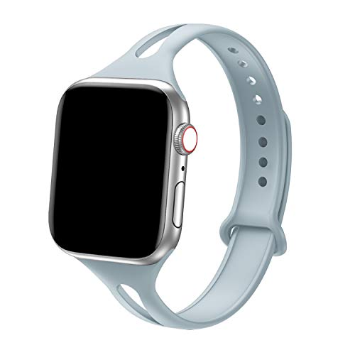 Bandiction Sport Band Compatible with Apple Watch 38mm 40mm, Soft Silicone Sport Strap Replacement Narrow Bands for iWatch Series 5 4 3 2 1, Sport Edition Women Men (Laurel)