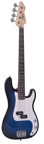 Full Size Blue Burst Electric Bass Guitar Pack with 15W power Amp Case Strap Package - Image 1