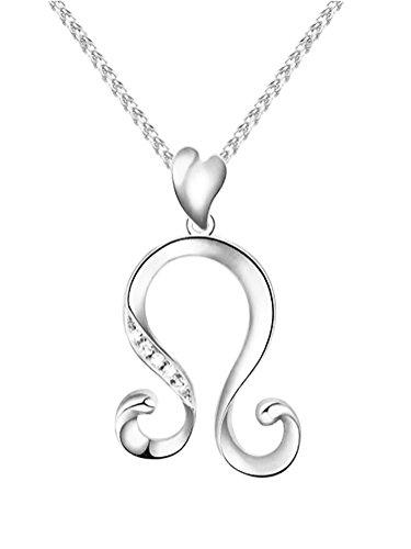 Leo Charm Pendant (Paialco 925 Sterling Silver Birthday Zodiac Charm Pendant Necklace Rhodium Plated Leo)