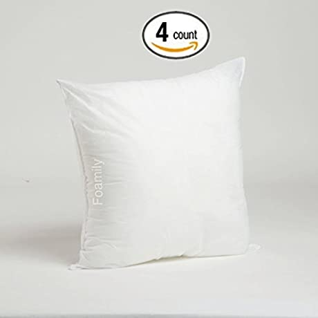 Foamily Set Of 4 Premium Hypoallergenic Stuffer Pillow Insert Sham Square Form Polyester 18 L X 18 W Standard White