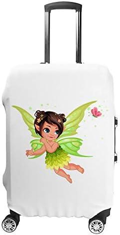 スーツケースカバー トラベルケース 荷物カバー 弾性素材 傷を防ぐ ほこりや汚れを防ぐ 個性 出張 男性と女性飛んで美しい小さな自然の妖精