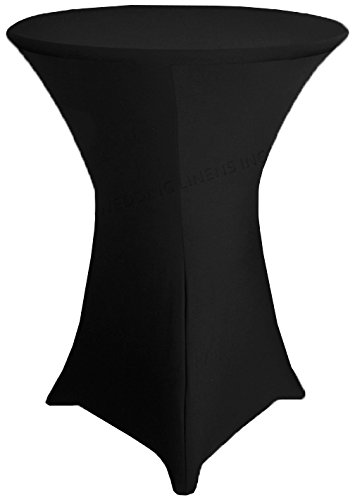 Wedding Linens Inc. Wholesale (200 GSM) 36 in x 42 in Cocktail Highboy Spandex Stretch Fitted Round Table Cover Tablecloths Black