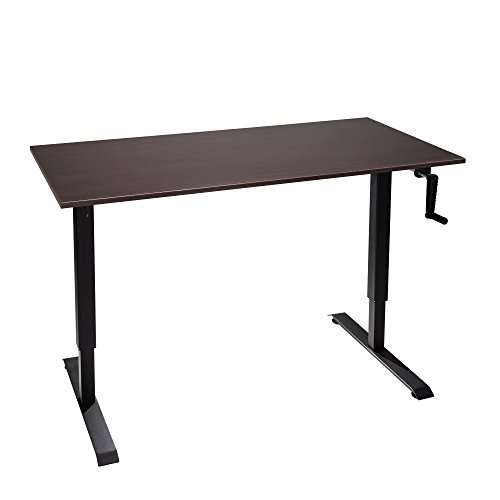 "The Original ModTable Hand Crank Standing Desk Adjustable Height Table with Black Frame + Medium Desktop 24"" x 48"" x 3/4"", Espresso (Table Crank Laminate)"